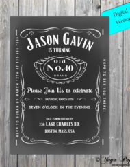 40th 50th 60th 70 Whiskey Label Birthday Invite Adult Invitationblack And